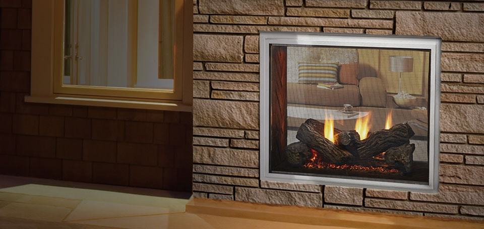 Fortress see through gas fireplace quadra fire for See thru fireplaces