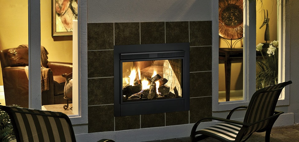 Twilight II Gas Fireplace shown with black basic exterior front