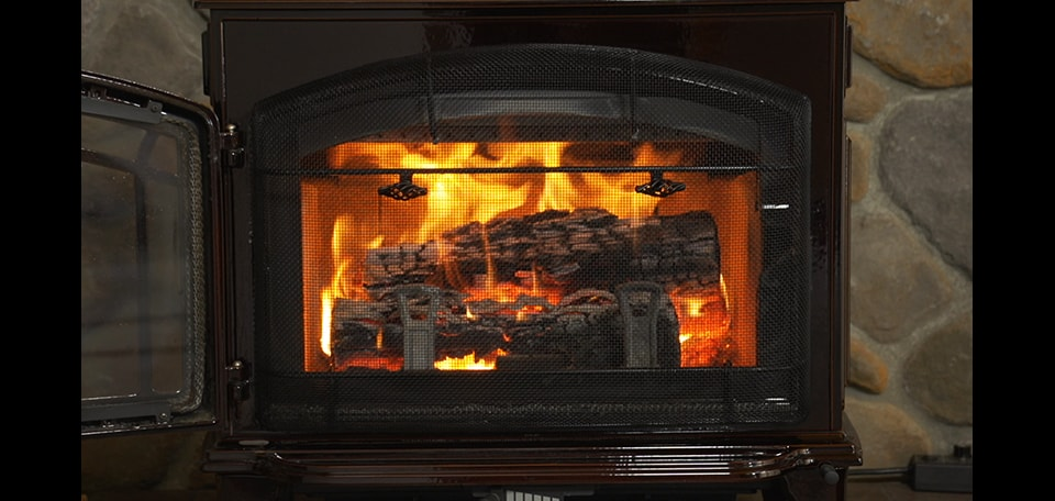 Optional Firescreen front allows safe burning with the door open
