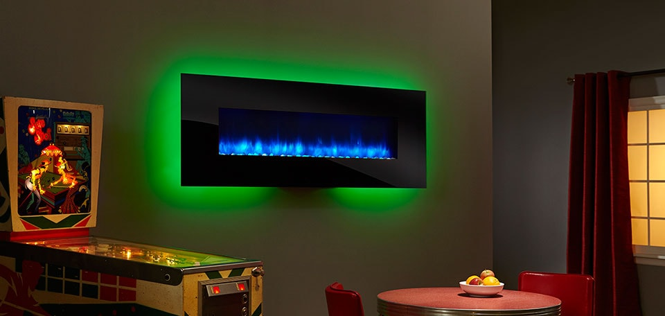 SimpliFire 70-inch Wall-Mount with black front, blue flame, green backlight