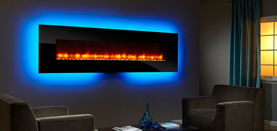 SimpliFire 94-inch Wall-Mount with black front, orange flame, light blue backlight