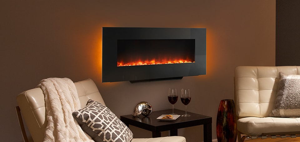 <p>SimpliFire 38-inch Wall-Mount with orange flame and amber backlight</p>