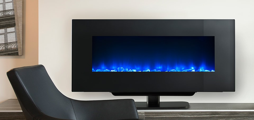 <p>SimpliFire 38-inch Wall-Mount with blue flame on stand</p>
