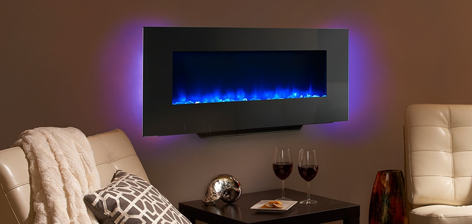 <p>SimpliFire 38-inch Wall-Mount with blue flame and violet backlight</p>