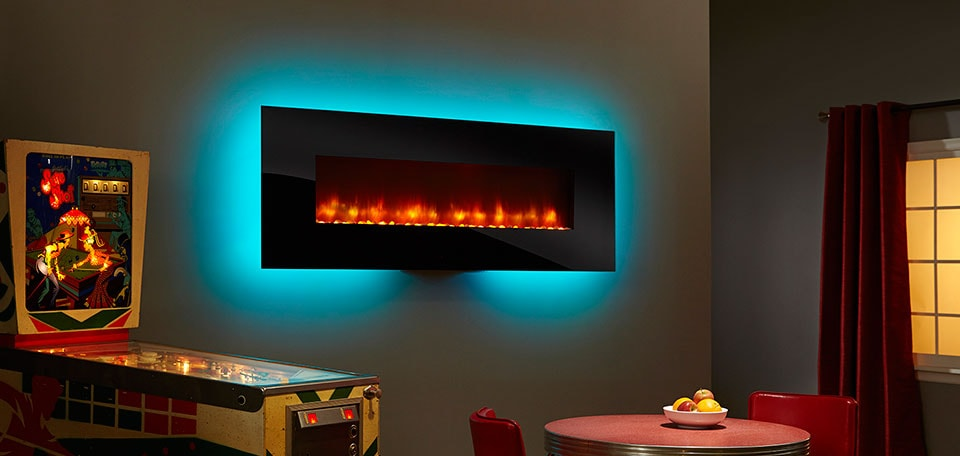 <p>SimpliFire 70-inch Wall-Mount with black front, orange flame, aqua backlight</p>
