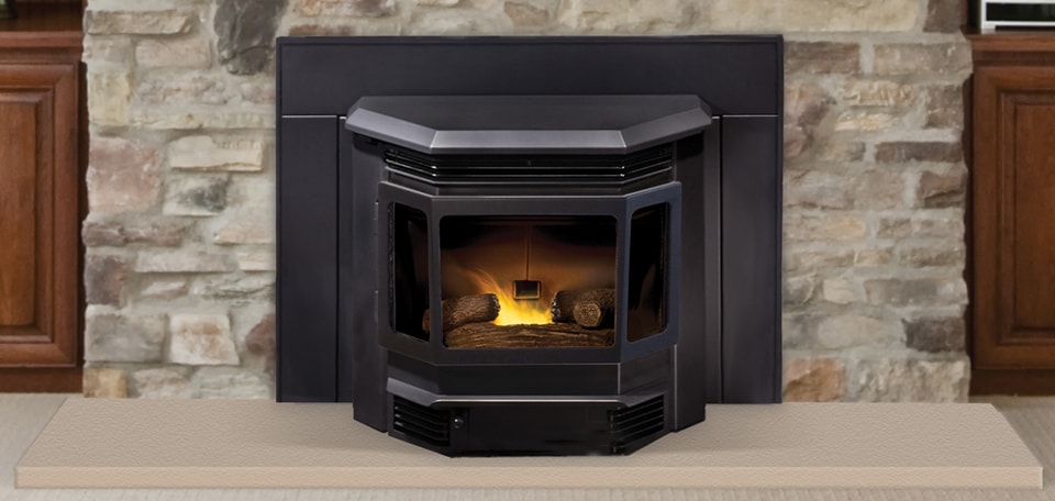 Classic Bay 1200 Pellet Insert shown with optional logs