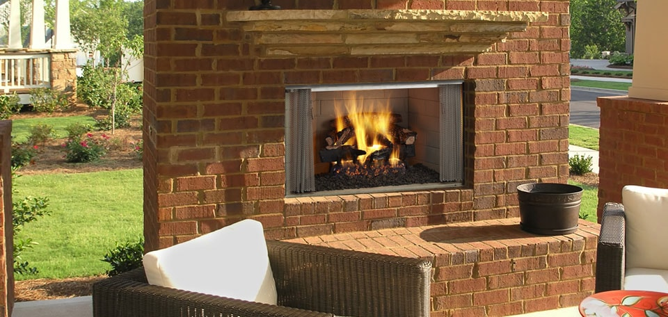 Villawood Wood Fireplace finished to the edge with optional gas logs