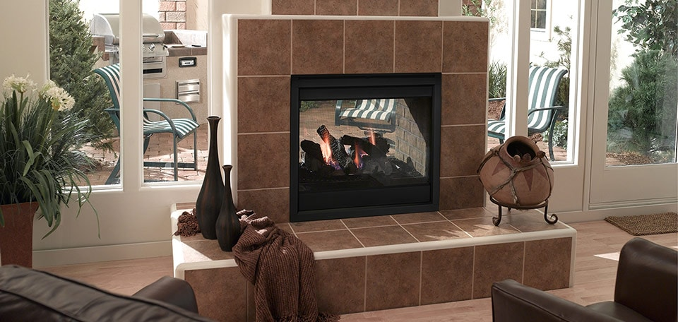 Twilight II Gas Fireplace shown with black basic interior front