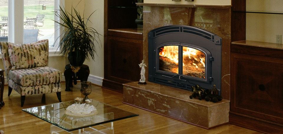 7100 Wood Fireplace with Mission Hill front