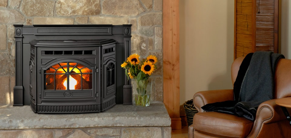 Castile Pellet Insert in black with cast trim surround