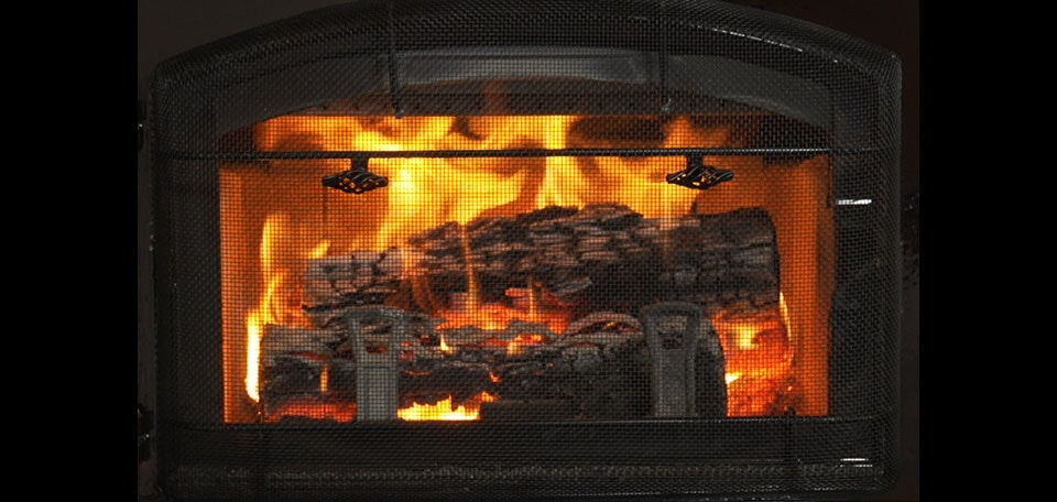 Explorer I Wood Stove shown with firescreen