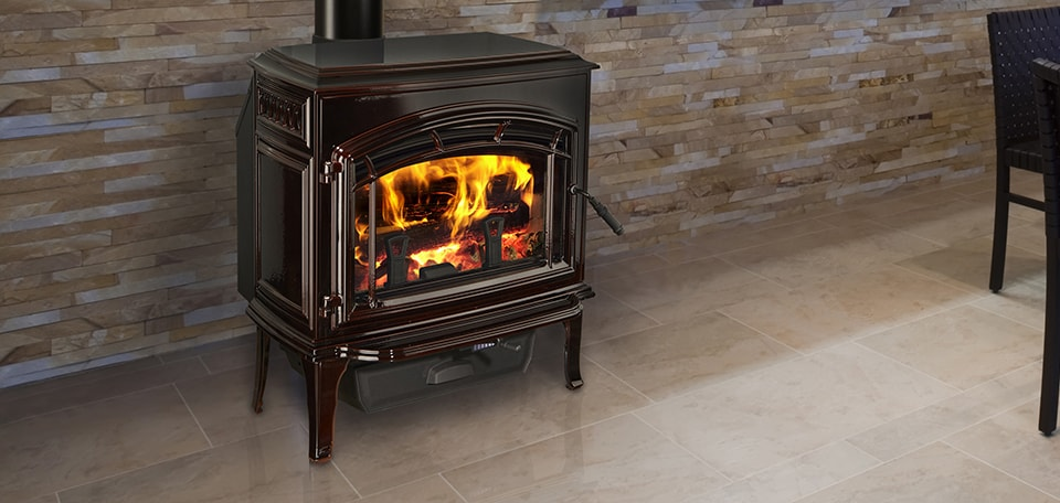 Explorer II Wood Stove shown in porcelain mahogany