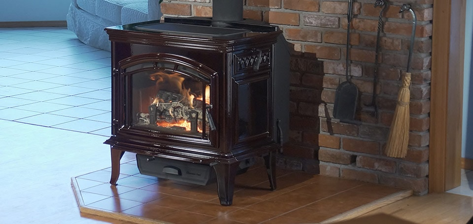 Explorer III Wood Stove shown in porcelain mahogany