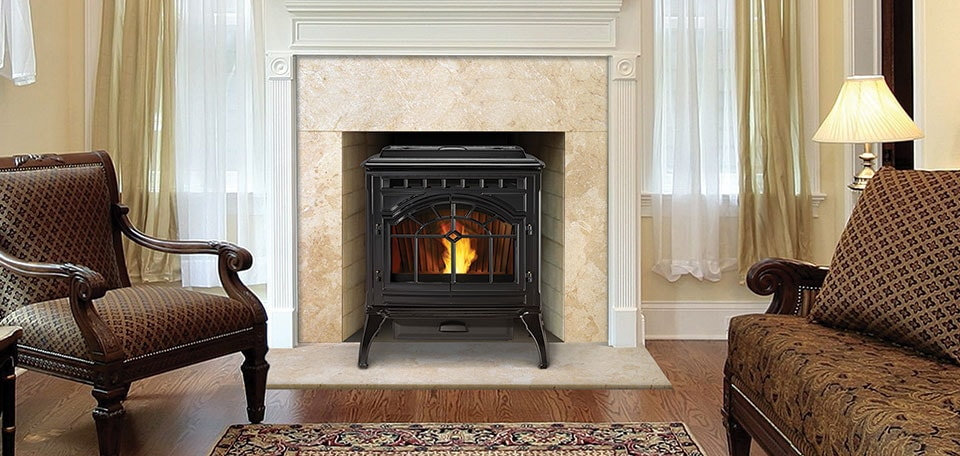 Mt. Vernon AE Pellet Stove in porcelain black finish