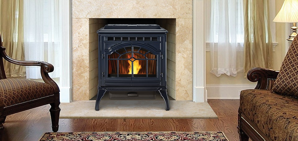 Mt. Vernon AE Pellet Stove in porcelain dark blue finish