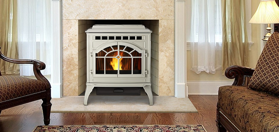 Quadra-Fire Mt. Vernon AE Pellet Stove in porcelain frost finish