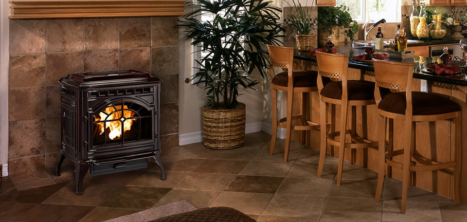 Mt. Vernon E2 Pellet Stove in mahogany finish