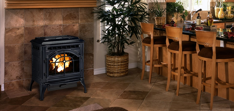 Mt. Vernon E2 Pellet Stove in porcelain dark blue finish