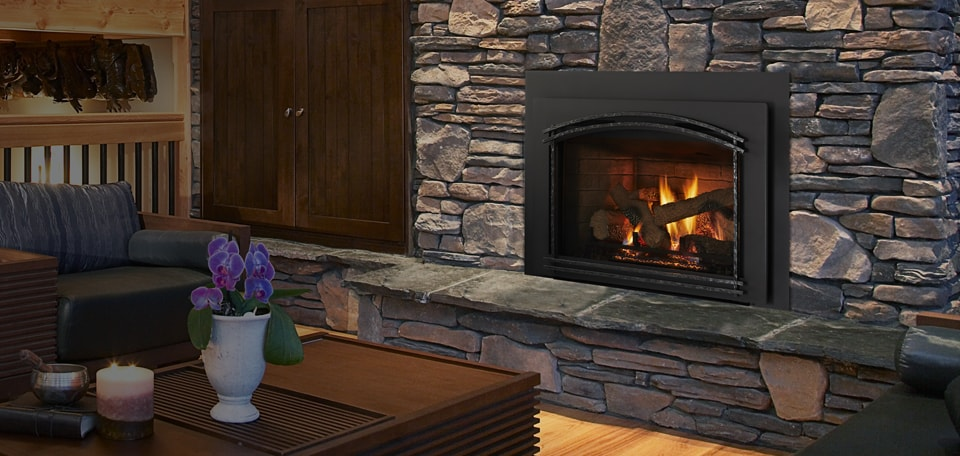 QFI35FB Gas Fireplace Insert shown with Forged Arch Firescreen