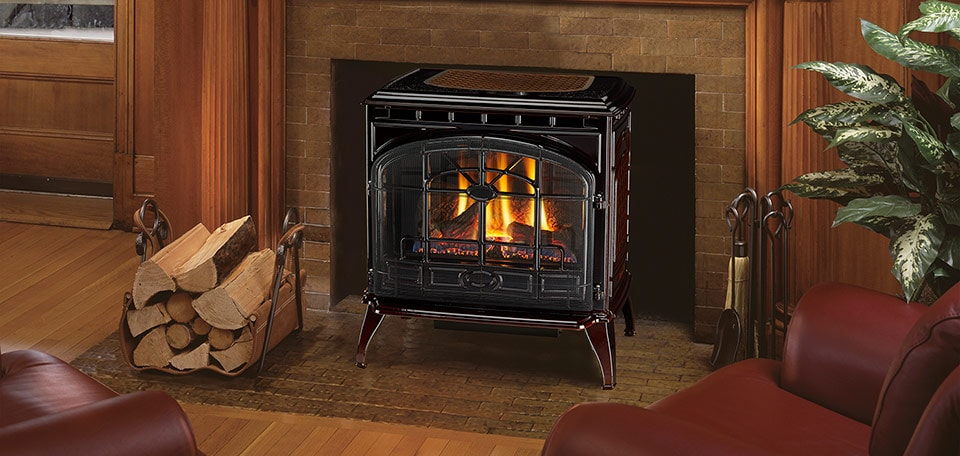 Topaz Gas Stove shown in porcelain mahogany with standard safety screen