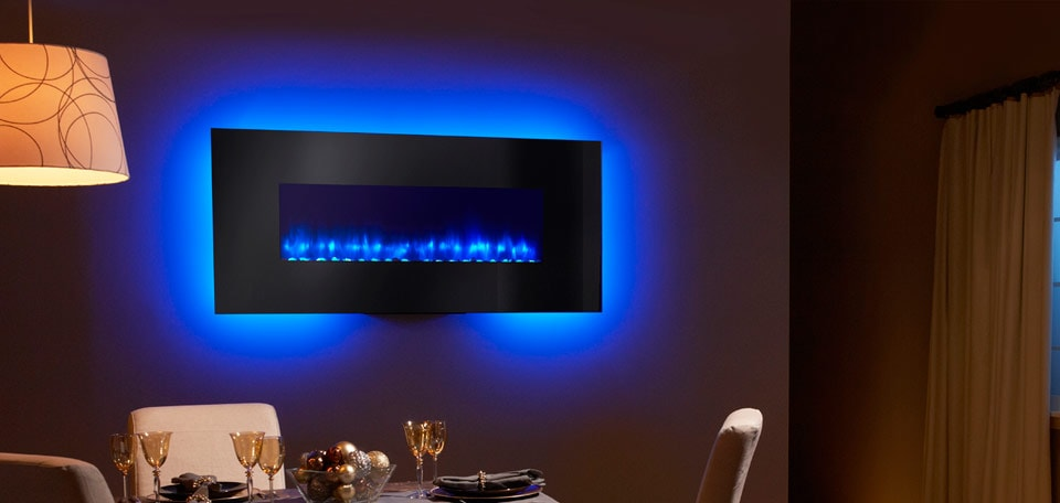 SimpliFire 58-inch Wall-Mount with black front, blue flame, blue backlight