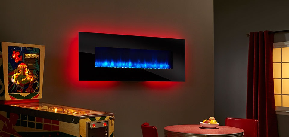 SimpliFire 70-inch Wall-Mount with black front, blue flame, red backlight