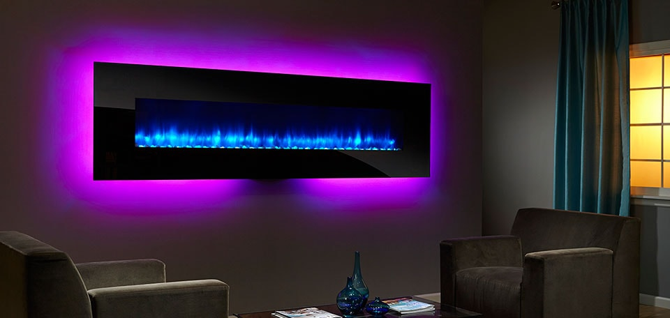 SimpliFire 94-inch Wall-Mount with black front, blue flame, purple backlight