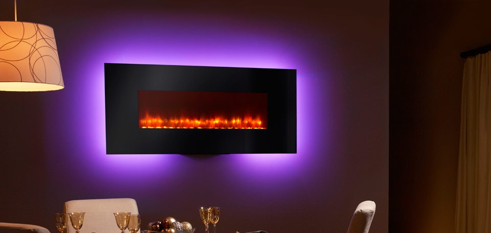 SimpliFire 58-inch Wall-Mount with black front, orange flame, purple backlight